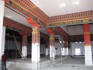 Painting underway in Main Temple 1st floor