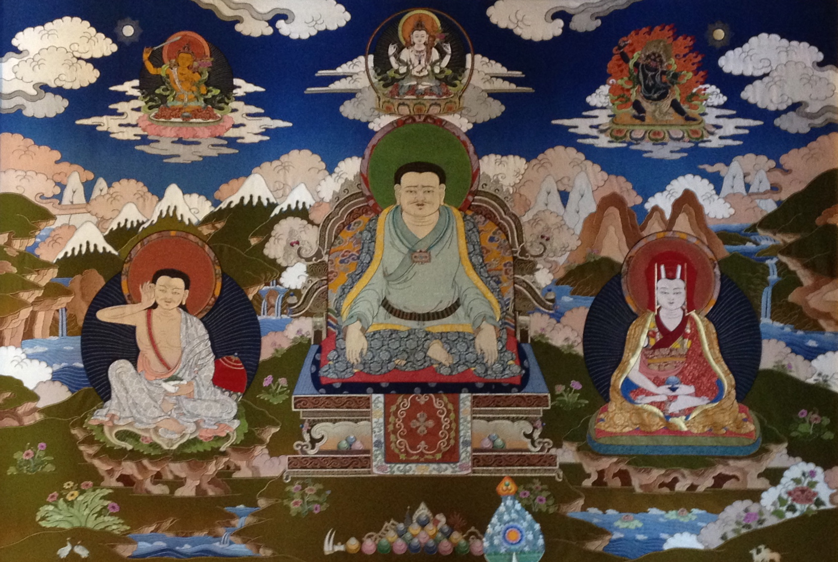 Marpa, Milarepa, Gampopa thangka at Amitabha Foundation Retreat Center, Nepal