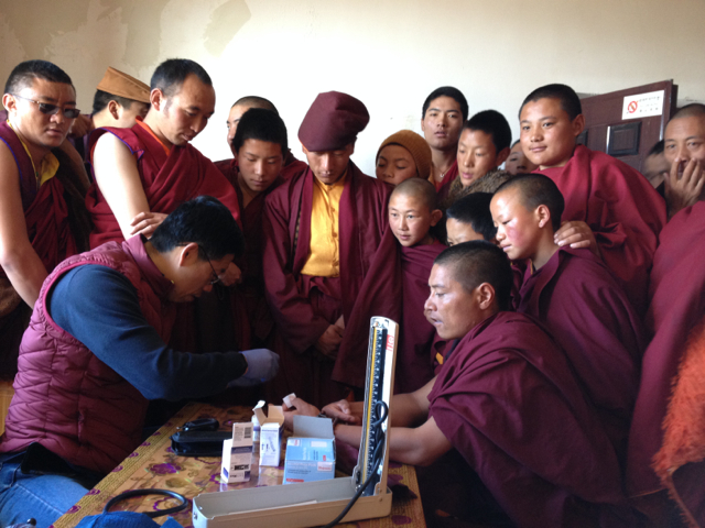 Monks as well as nomads receive treatment in the clinic.